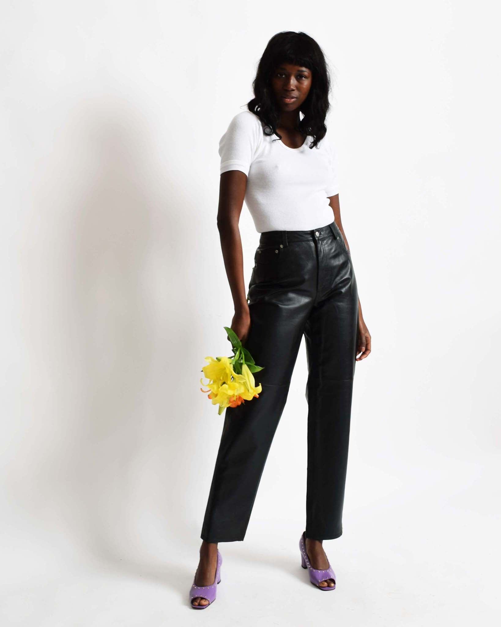 Vintage Black Leather Pants