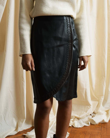 Vintage Topstitched Leather Skirt
