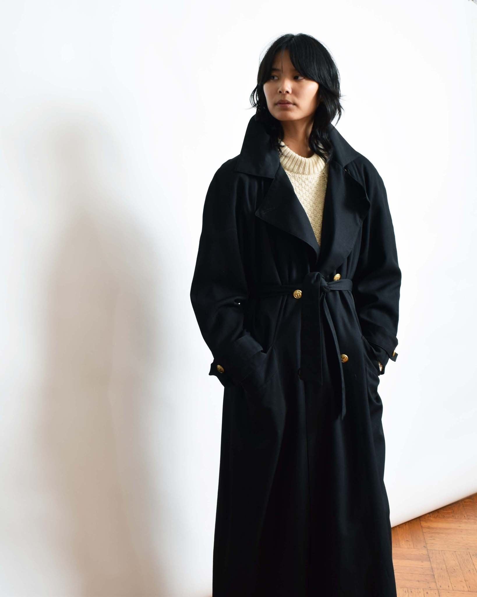 Vintage Perfect Black Trench Coat