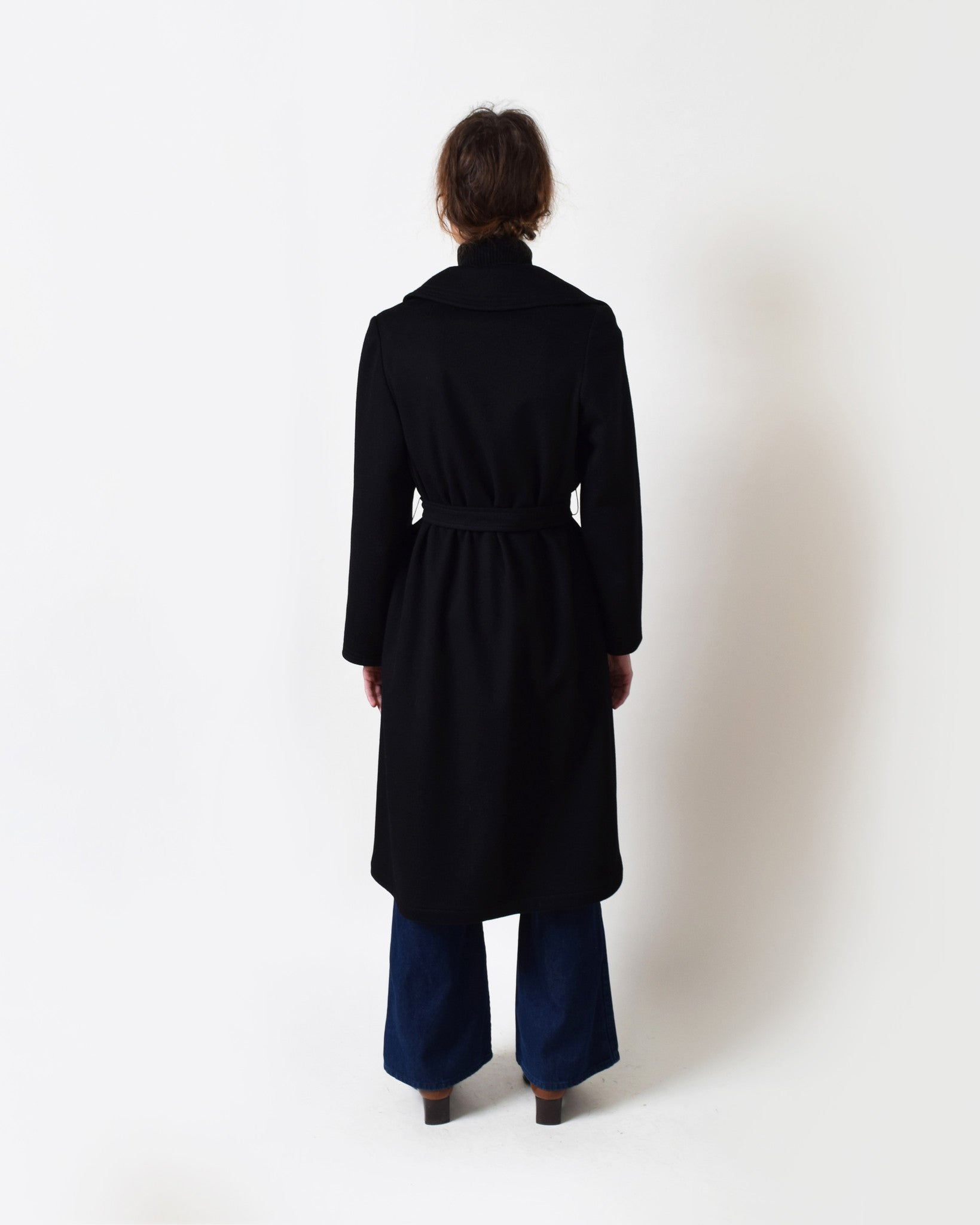 Vintage 1970s Black Robe Coat