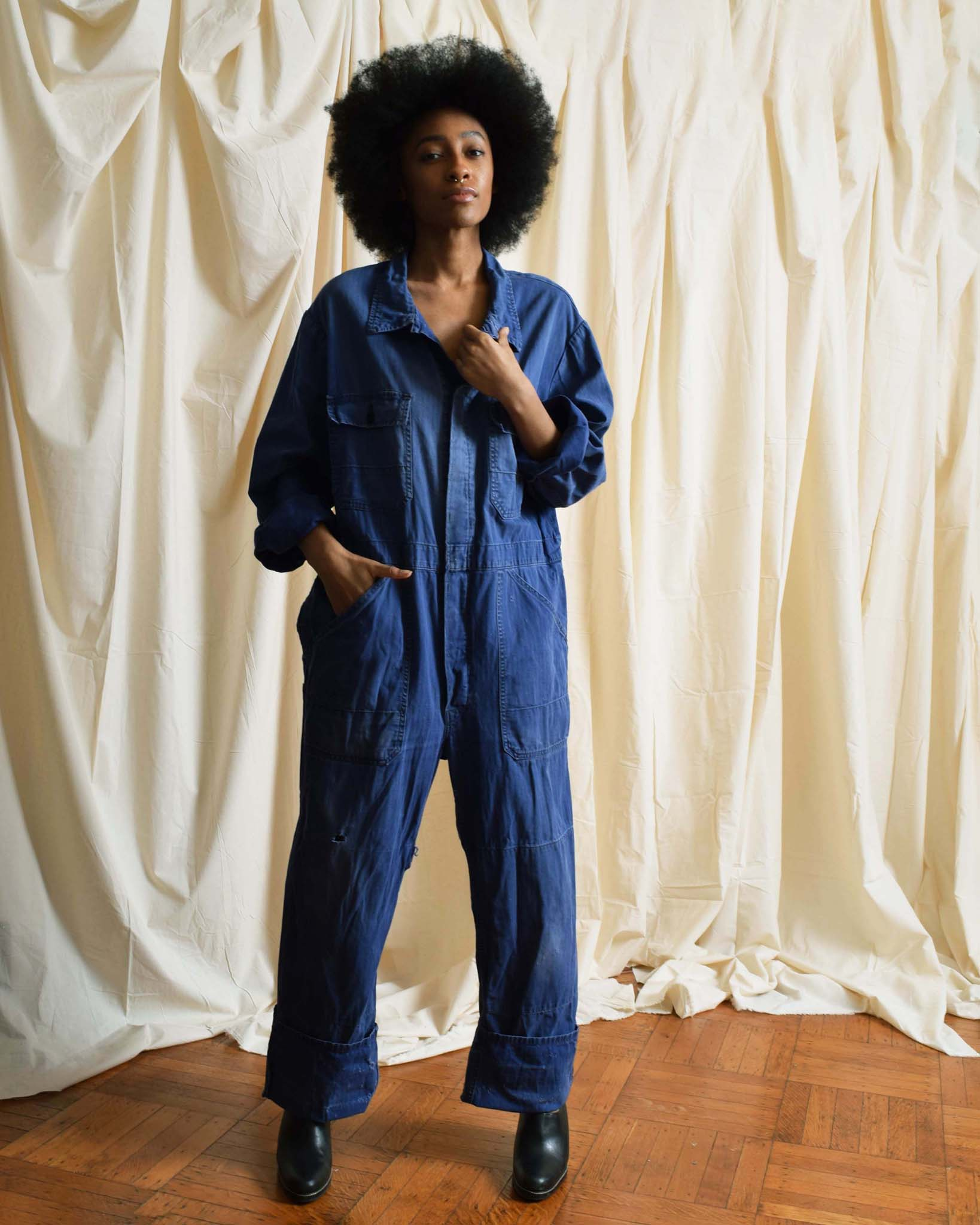 Vintage Distressed Blue Coveralls