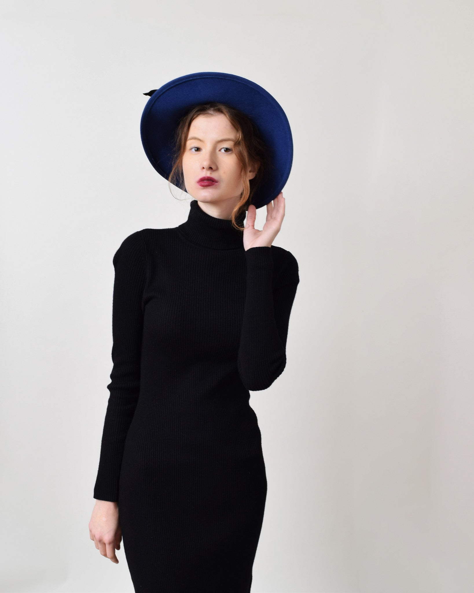 Vintage Blue Felted Wool Hat