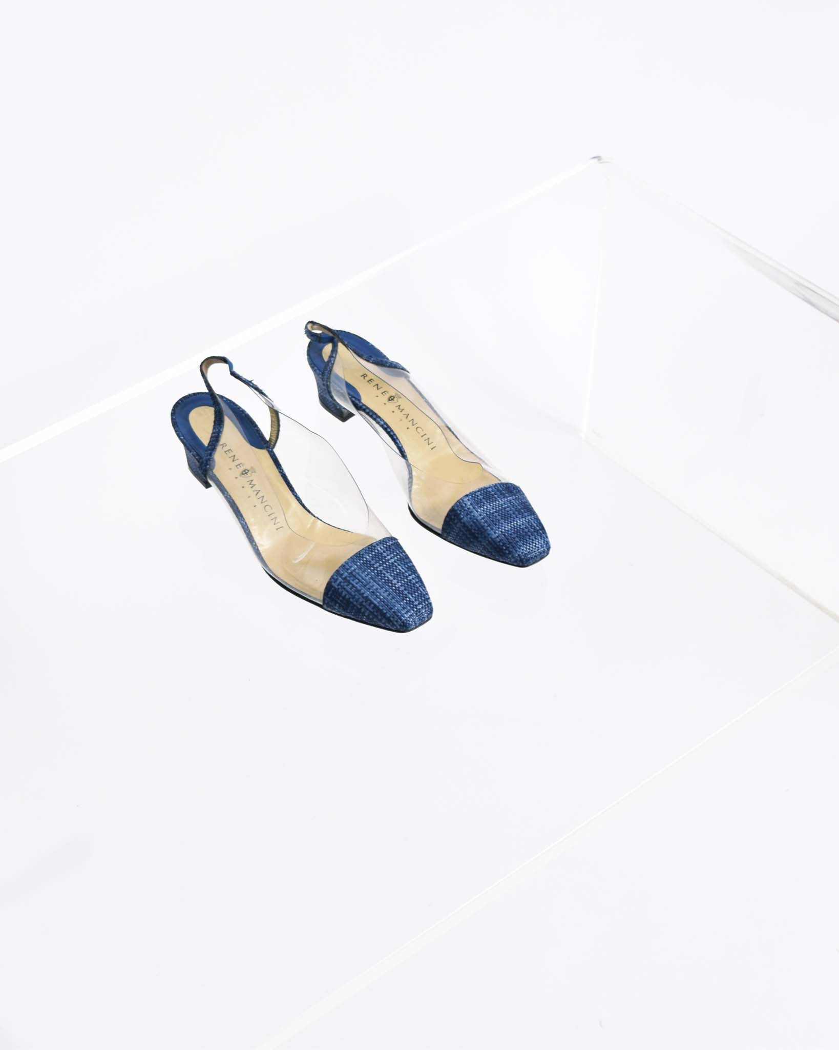Vintage Blue Raffia & Clear Vinyl Pumps, Size 40