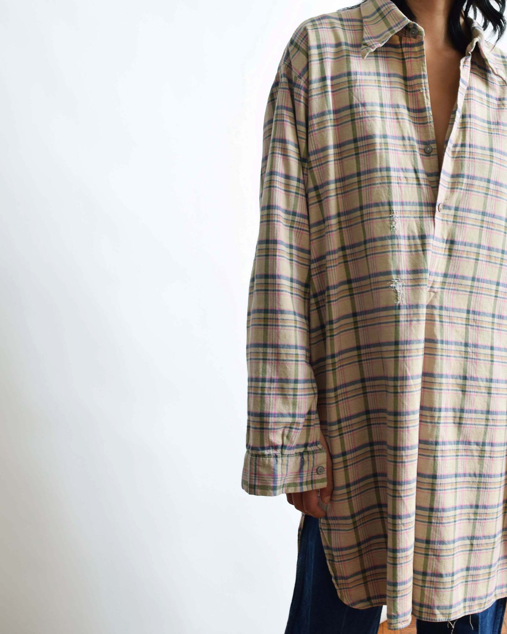 Vintage 1950s Plaid Grandfather Shirt