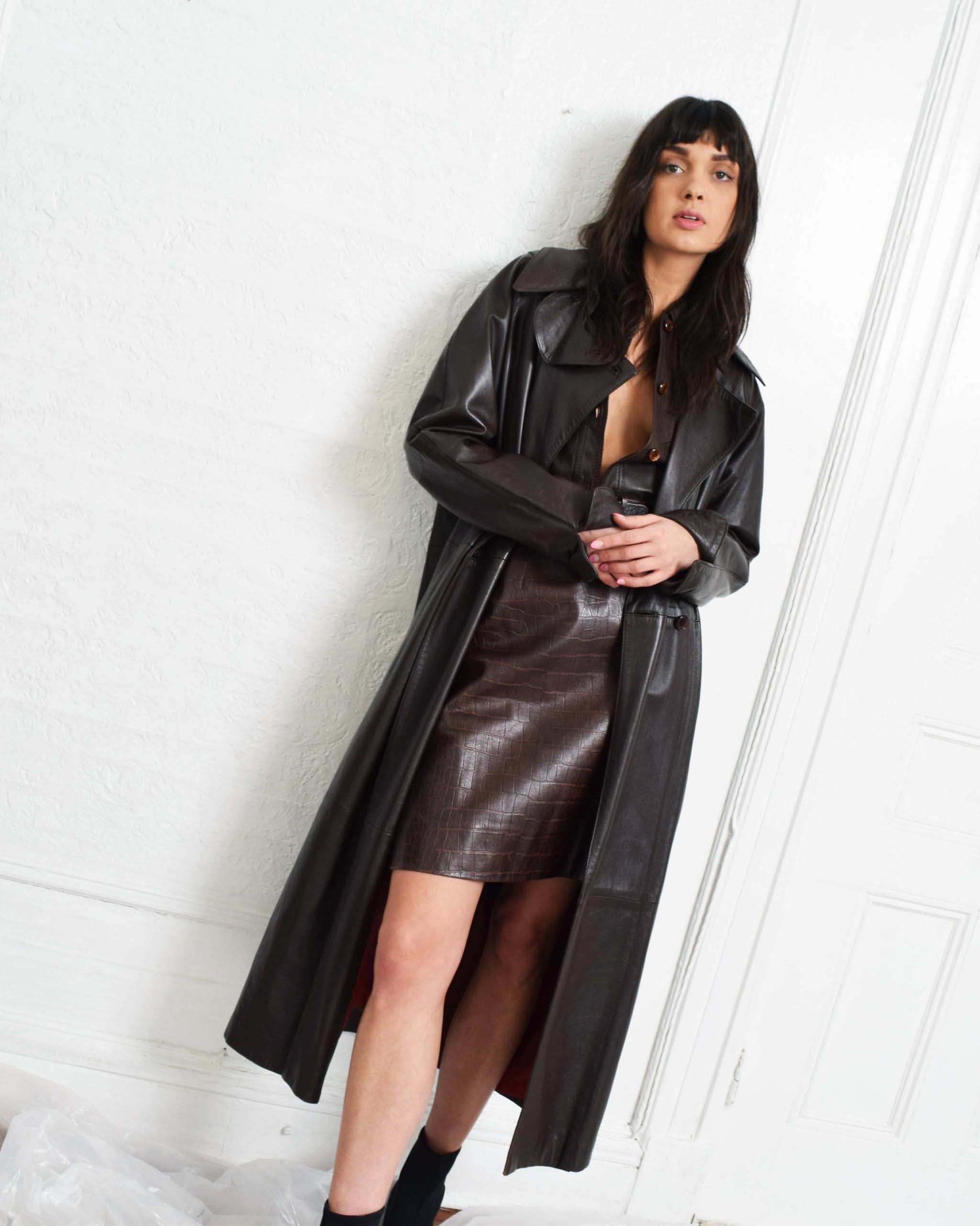 Vintage  Brown Leather Trench