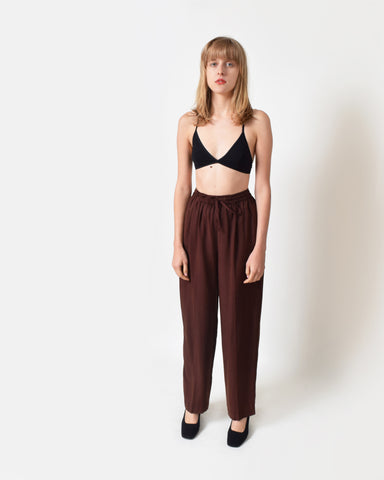 Vintage Brown Silk Pants