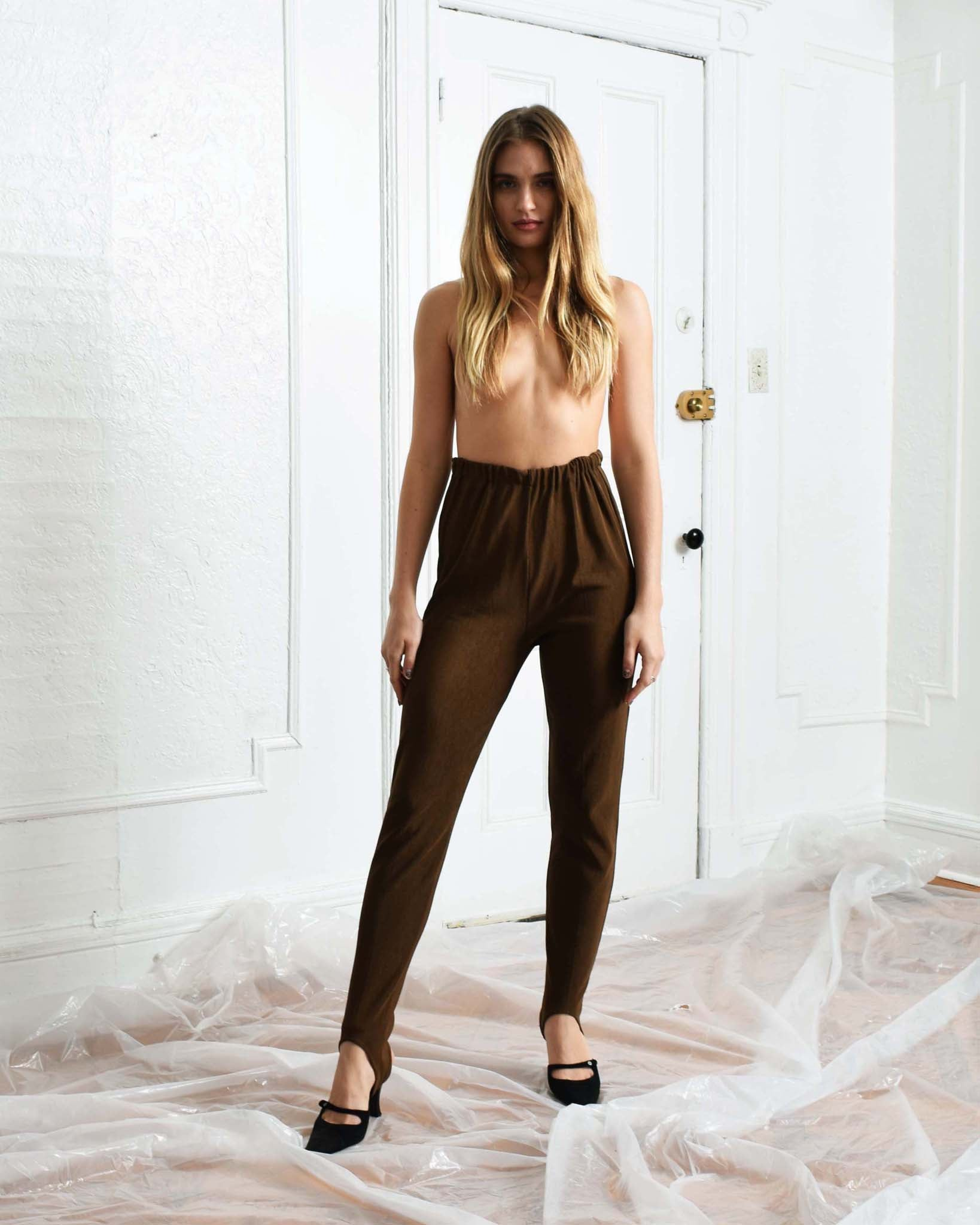 Vintage Brown Stirrup Pants