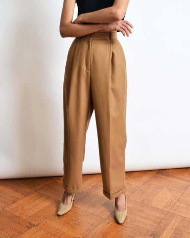 Vintage Relaxed Camel Trousers, 29
