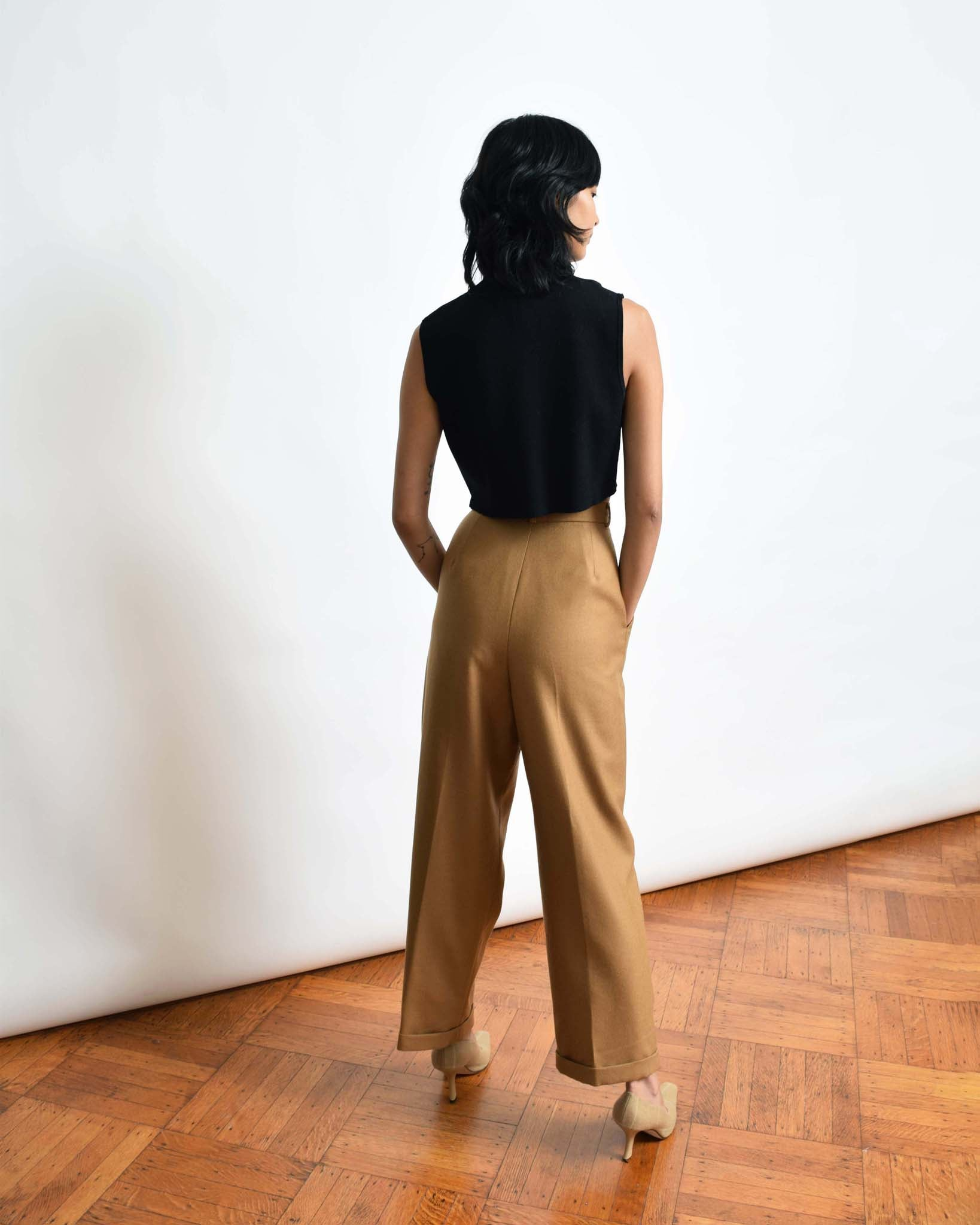 "Vintage Relaxed Camel Trousers, 29""W"