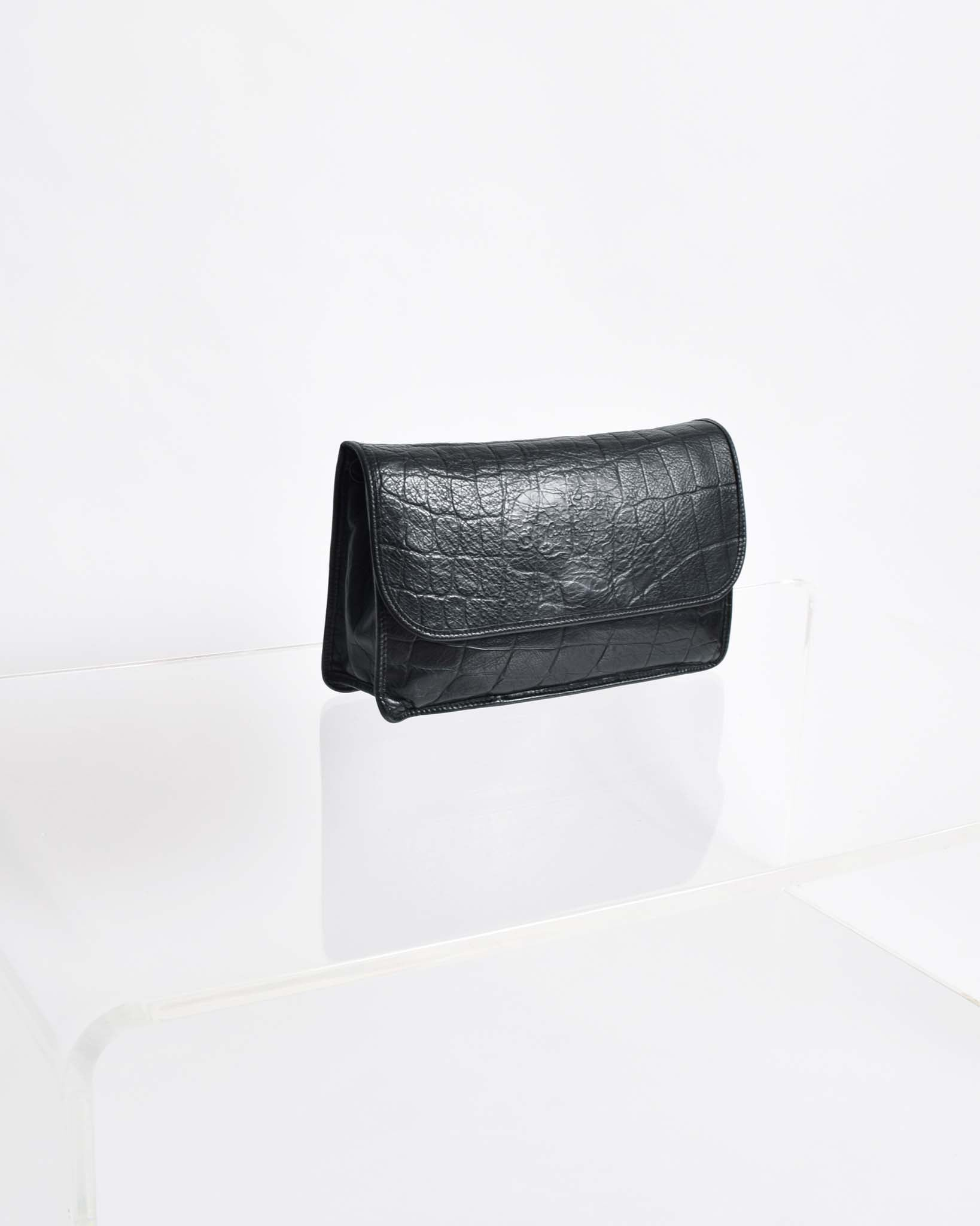 Vintage Carlos Falchi Black Leather Purse