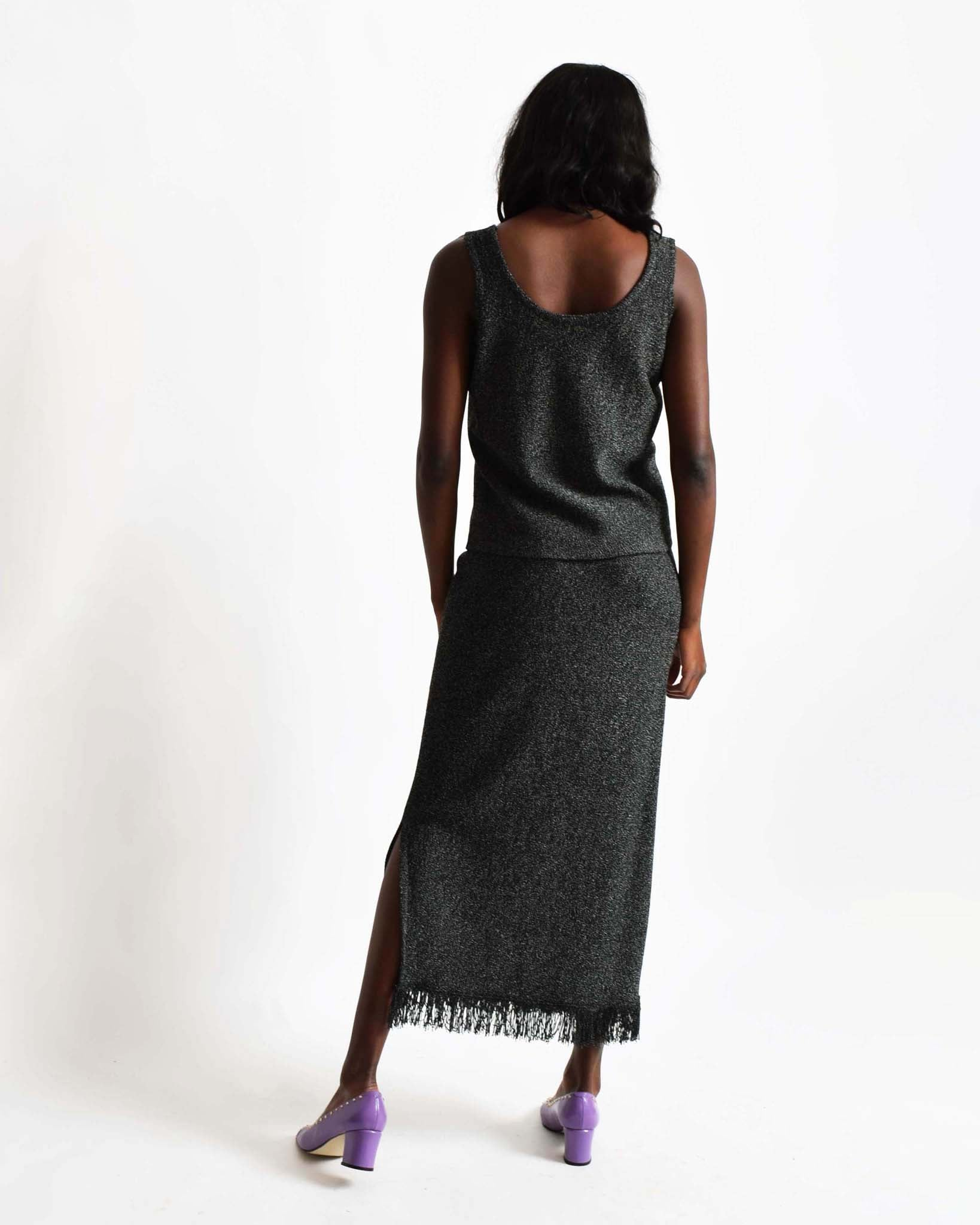Vintage Charcoal Knit Dress Set