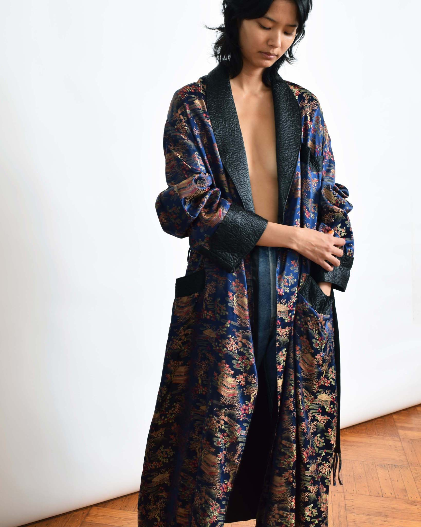 Vintage Brocade Smoking Robe