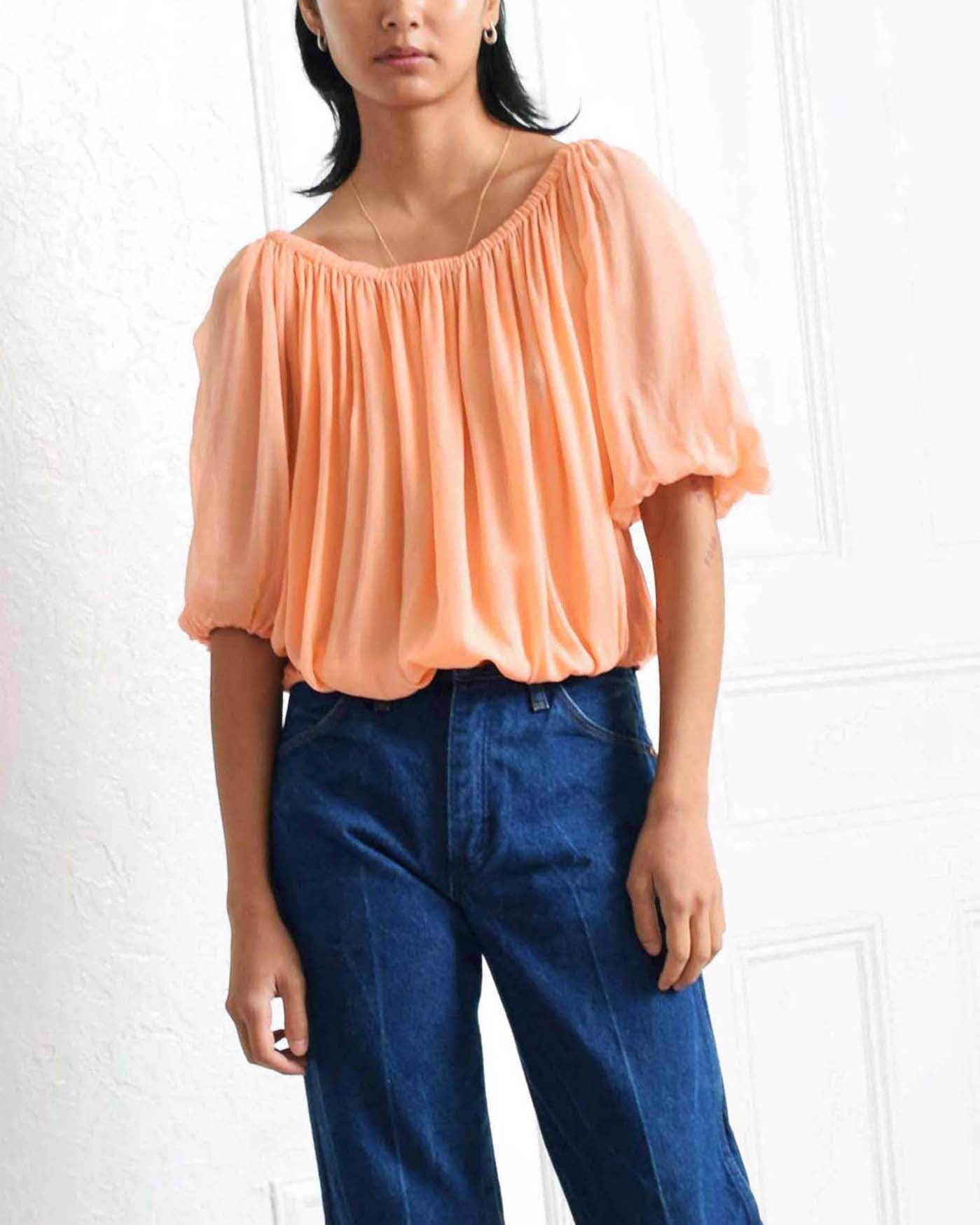Vintage Draped Coral Blouse