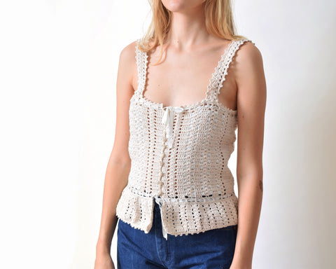 Vintage Crochet Lace Camisole Top