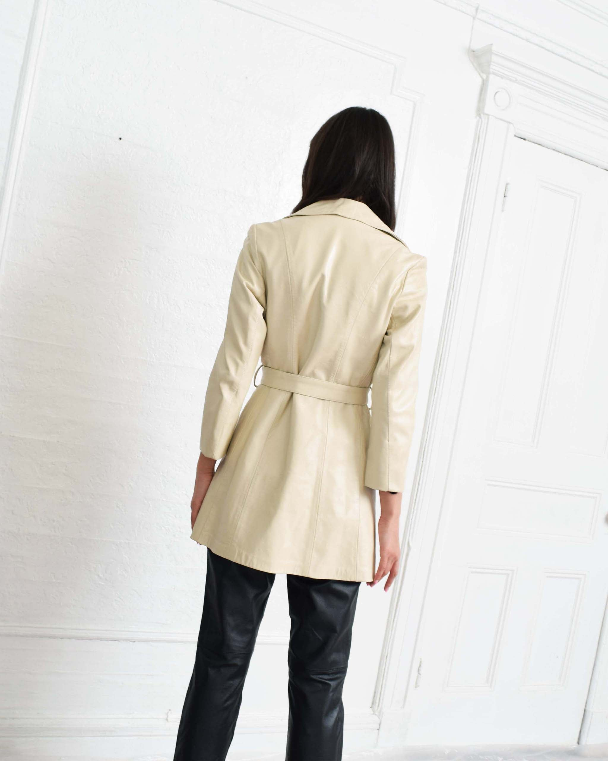Vintage 1970s Ivory Leather Jacket