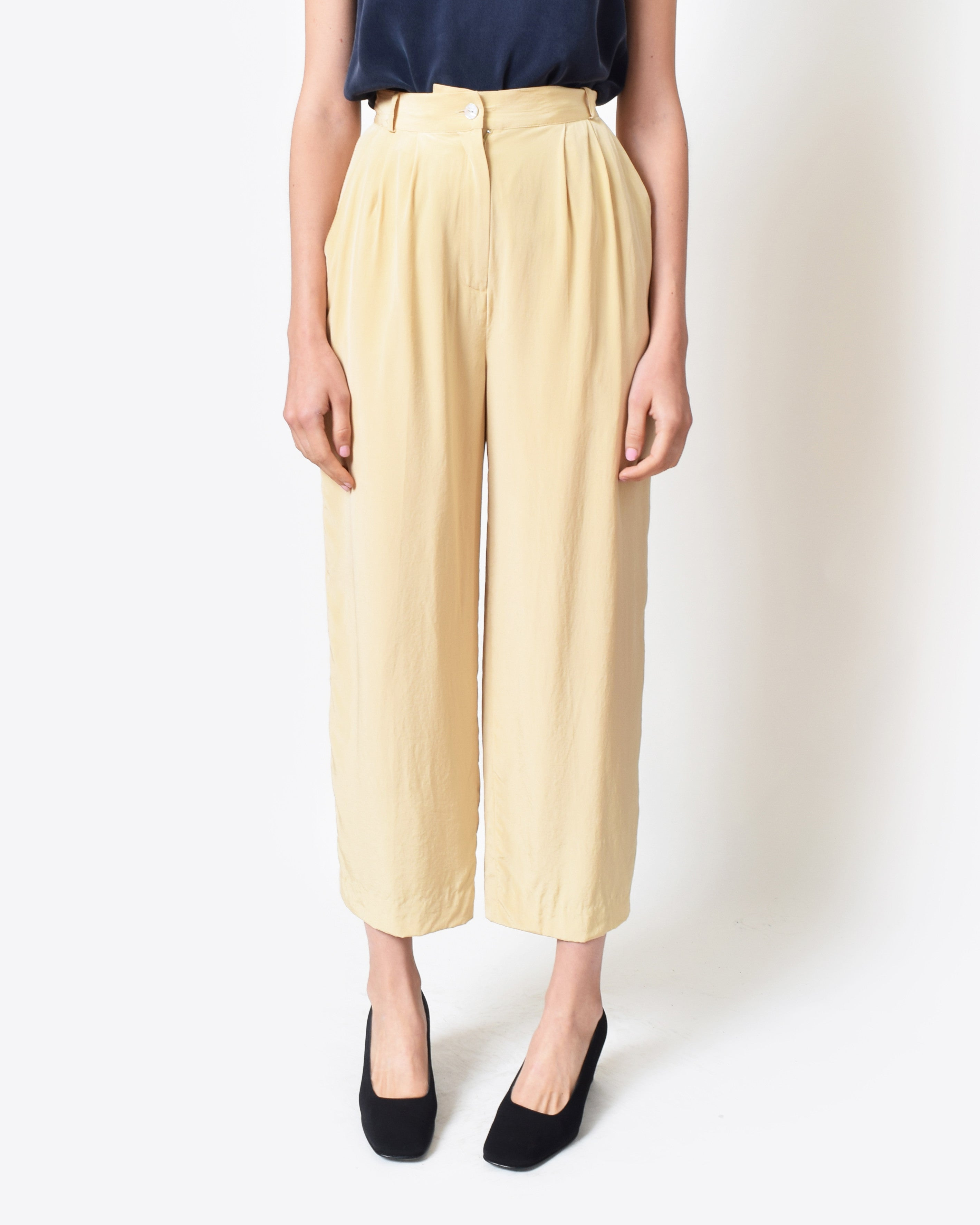 Vintage Cream Silk Trousers