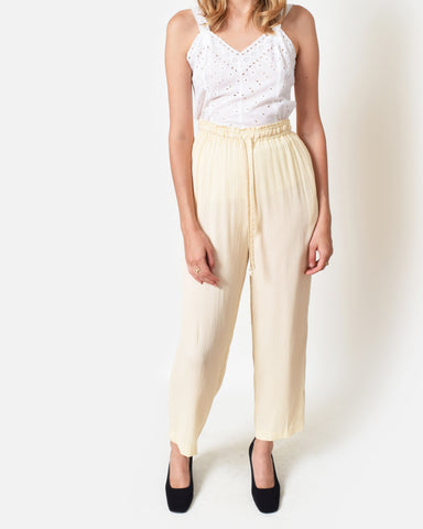 Vintage Cream Crinkled Pants