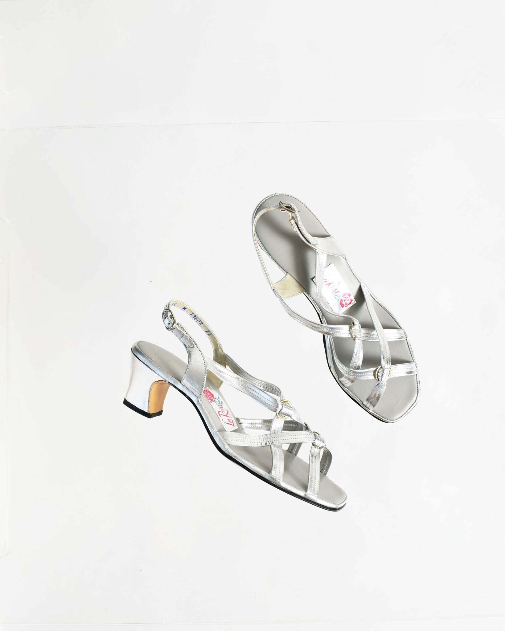 Vintage 1970s Metallic Strappy Sandals