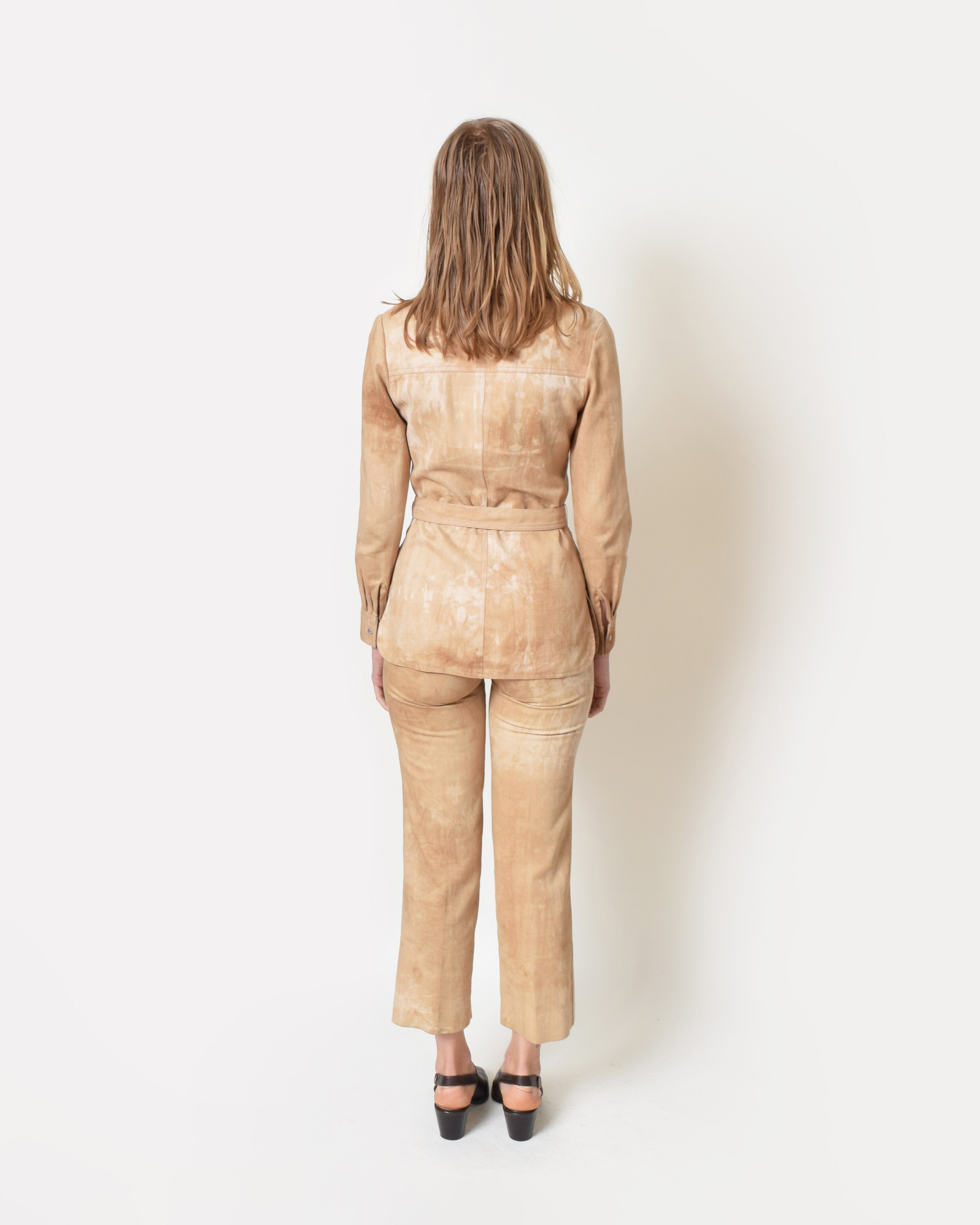 Vintage 1970s Distressed Tan Denim Suit