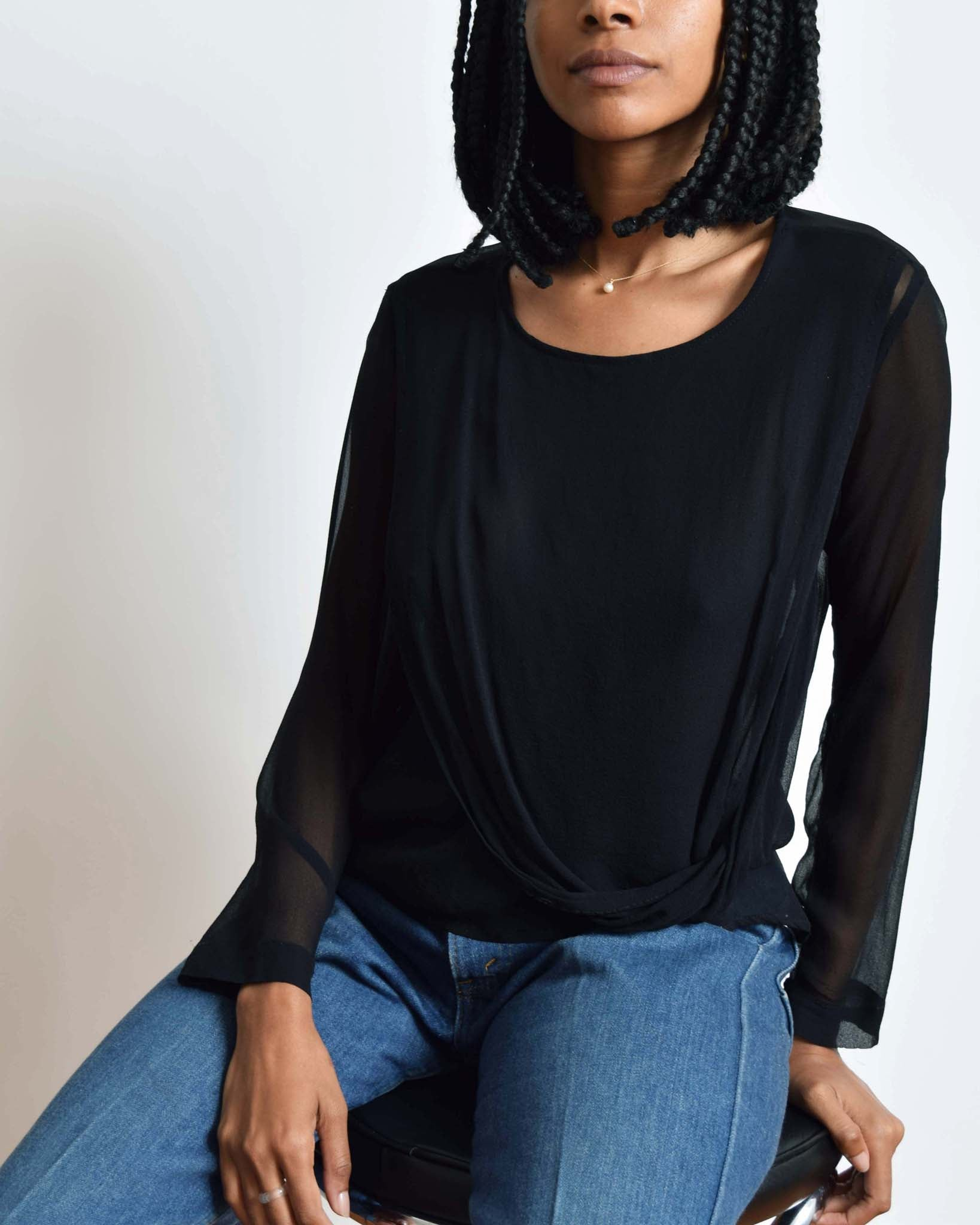 Vintage Draped Chiffon Blouse