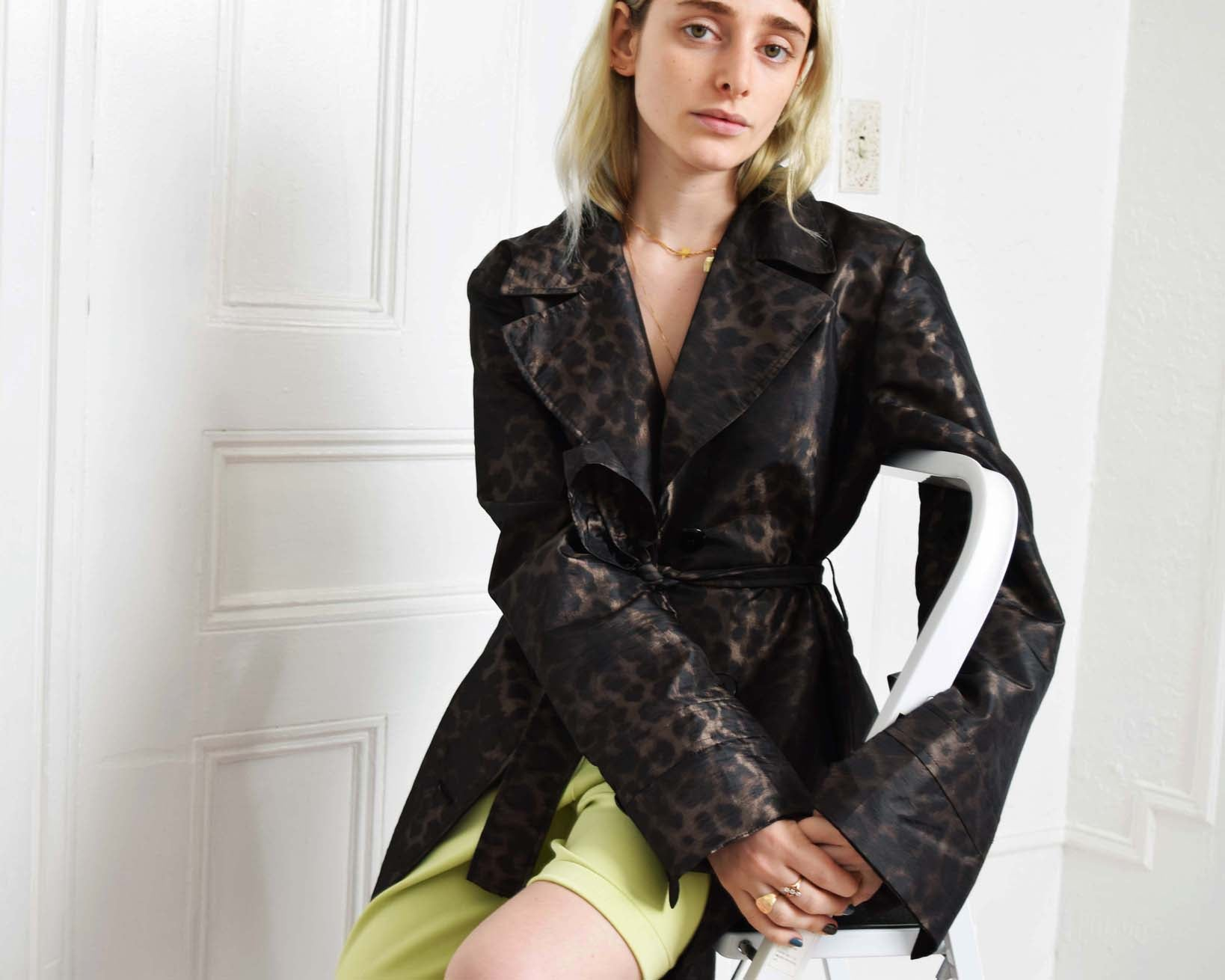 Ellen Tracy Leopard Trench Coat