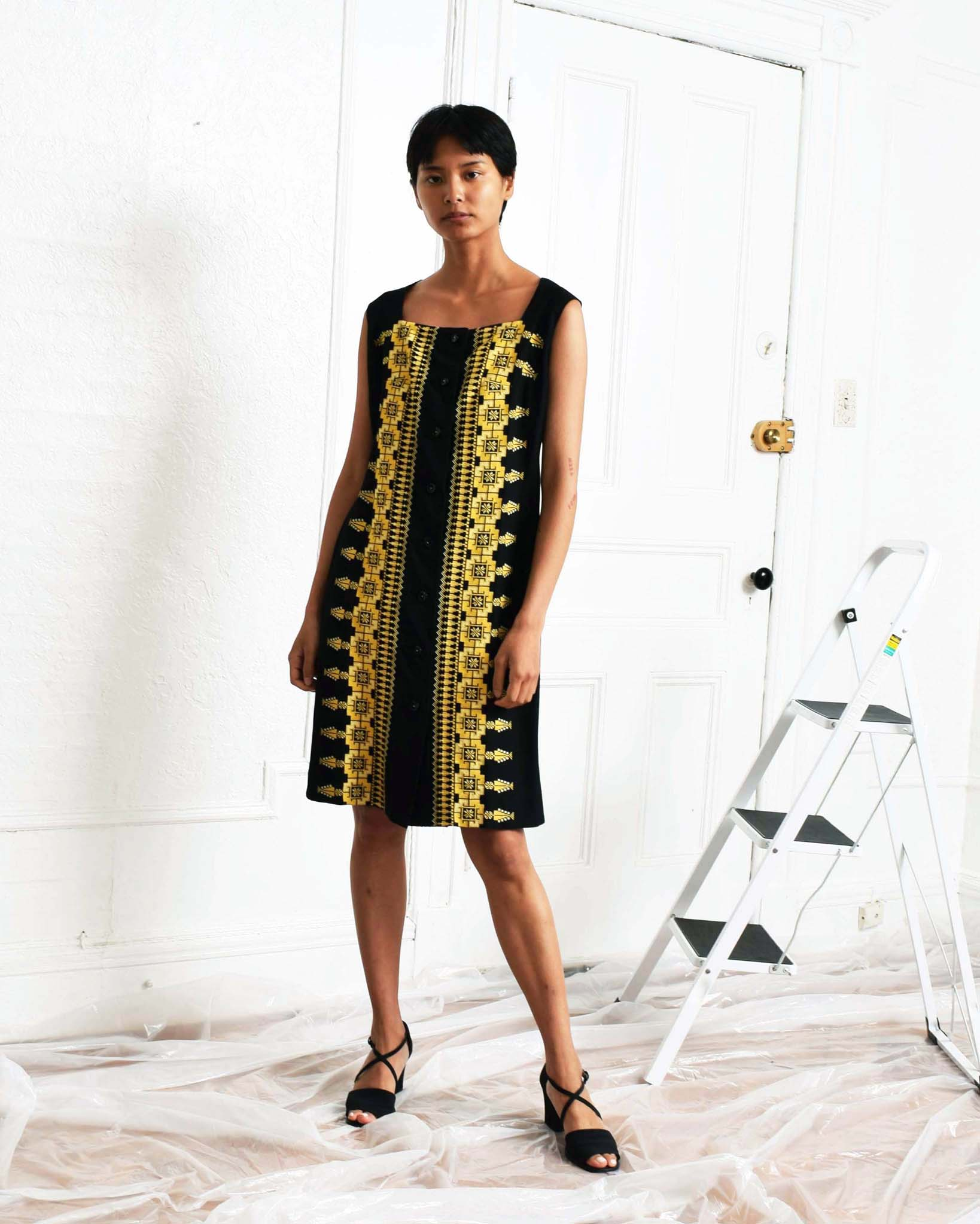 Vintage Embroidered Sheath Dress