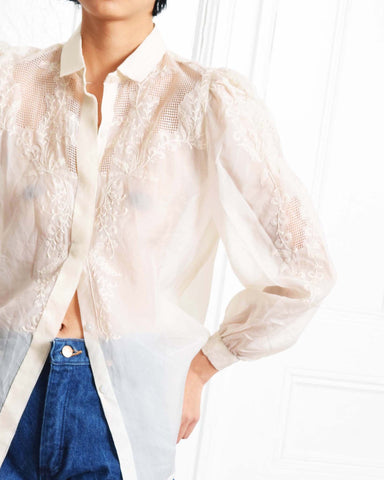 Vintage Embroidered Silk Blouse