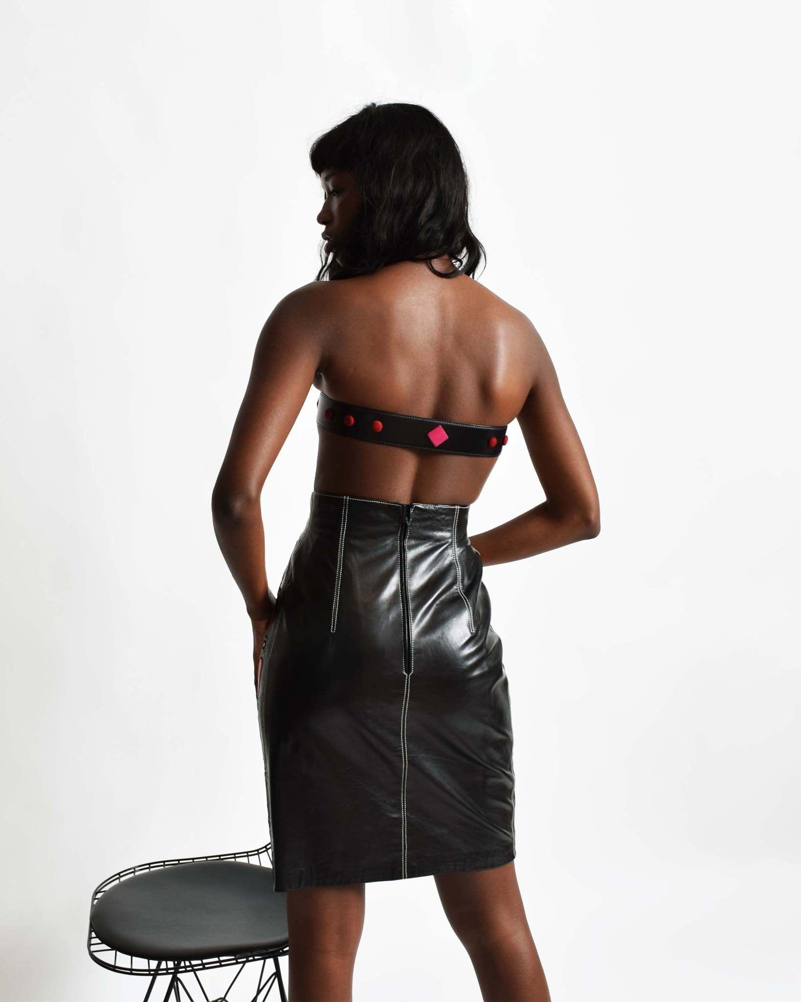 Vintage Escada '!' Leather Skirt