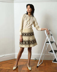 Vintage Fair Isle Knit Skirt