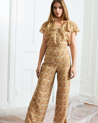 Vintage Feather Print Pants Set