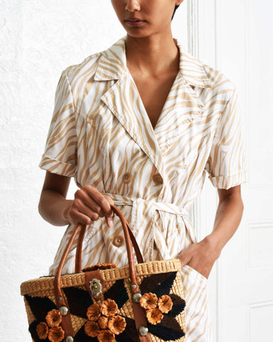 Vintage 1970s Checkered Straw Tote