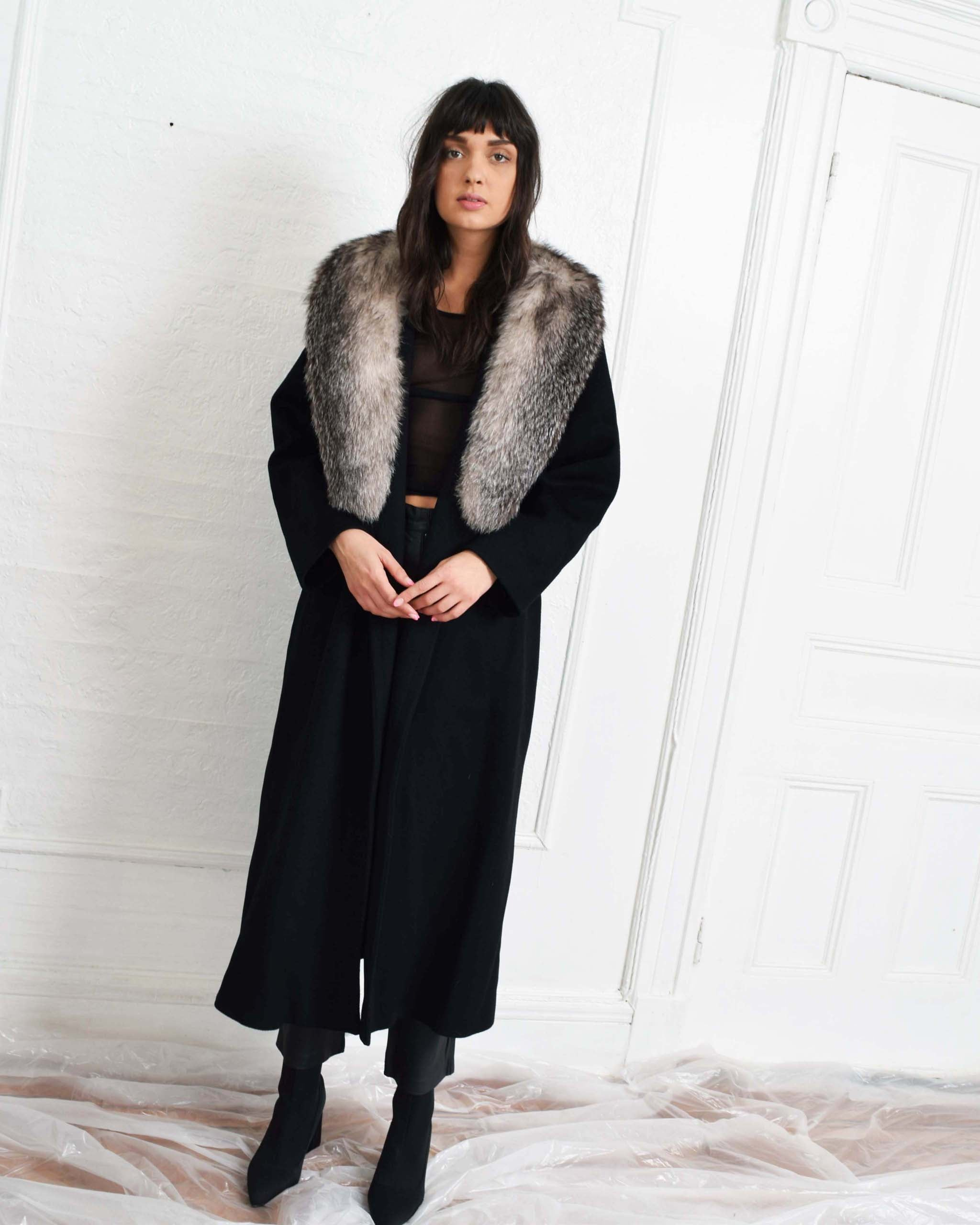 Vintage Fur Collar Robe Coat