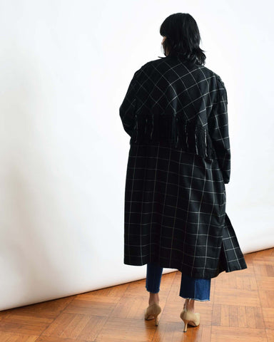 Vintage Windowpane Trench Coat