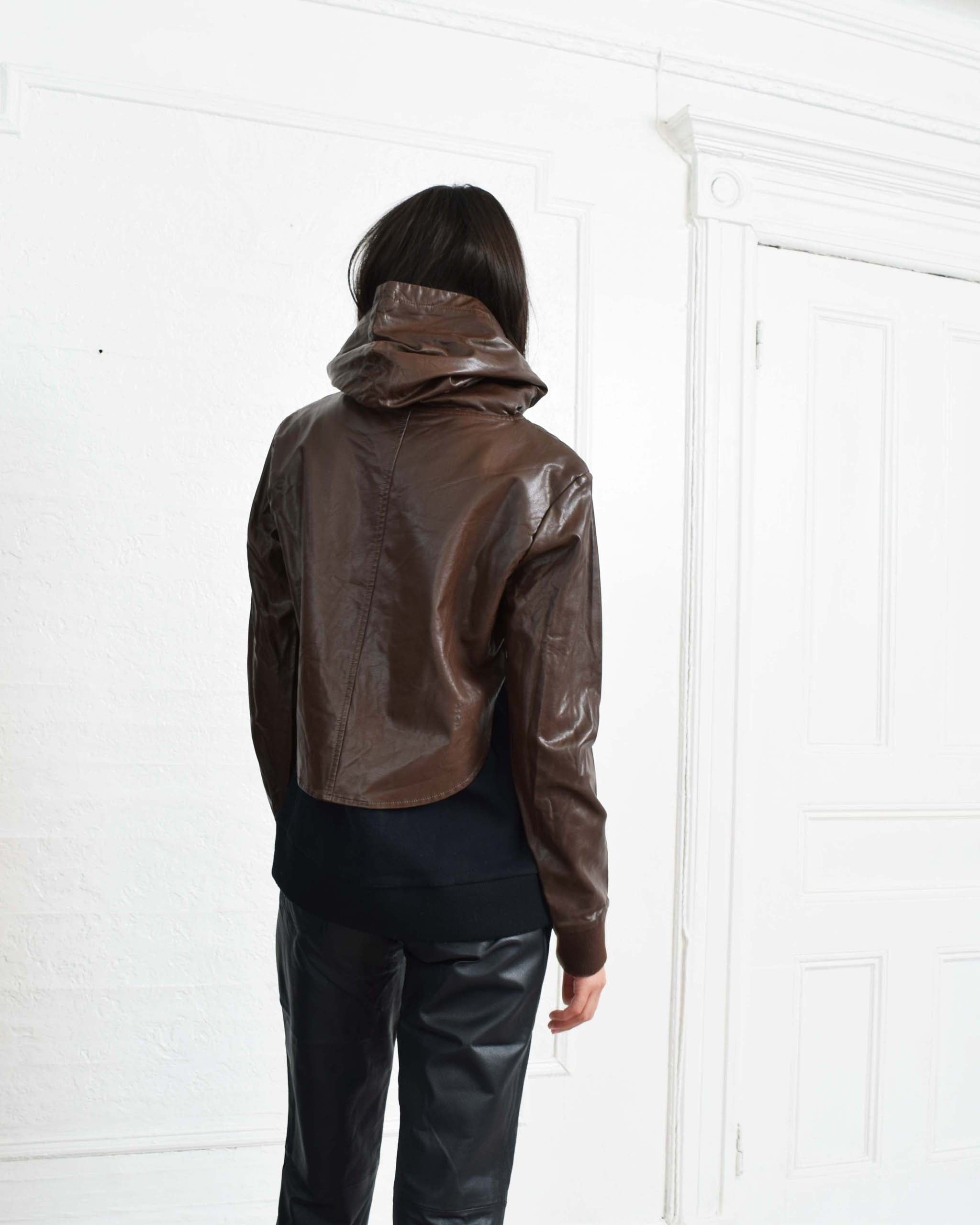 Givenchy Leather Hooded Sweatshirt