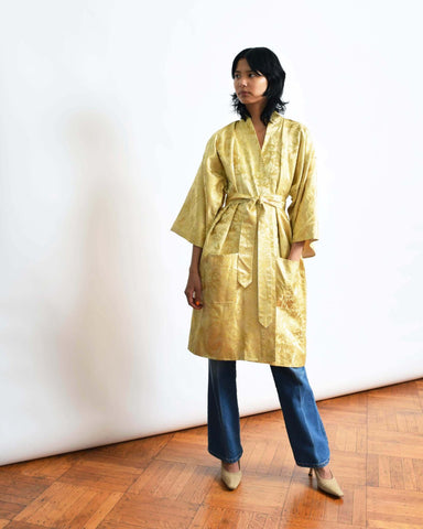 Vintage Gold Brocade Robe Coat