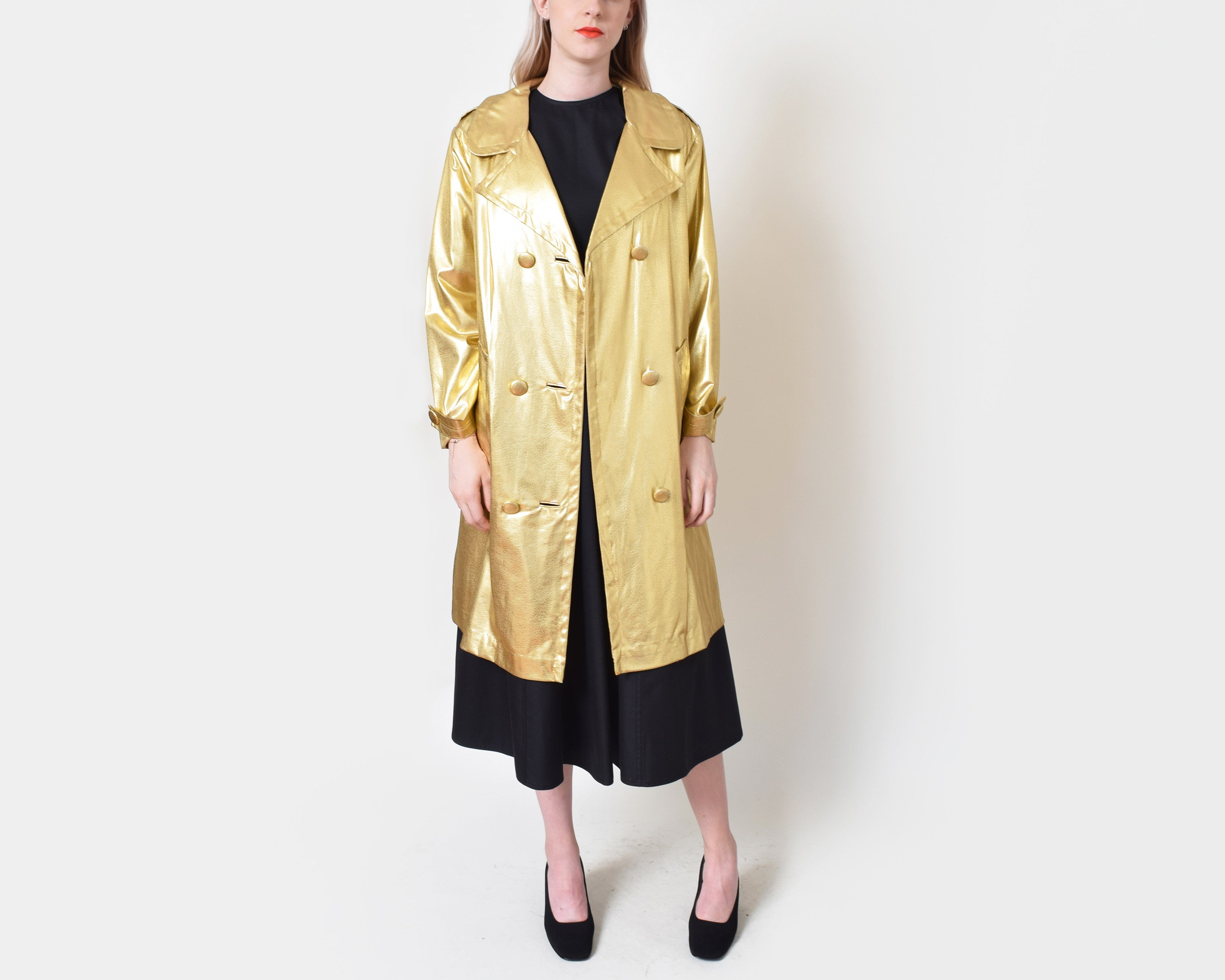 Vintage 1960s Metallic Gold Trench Coat