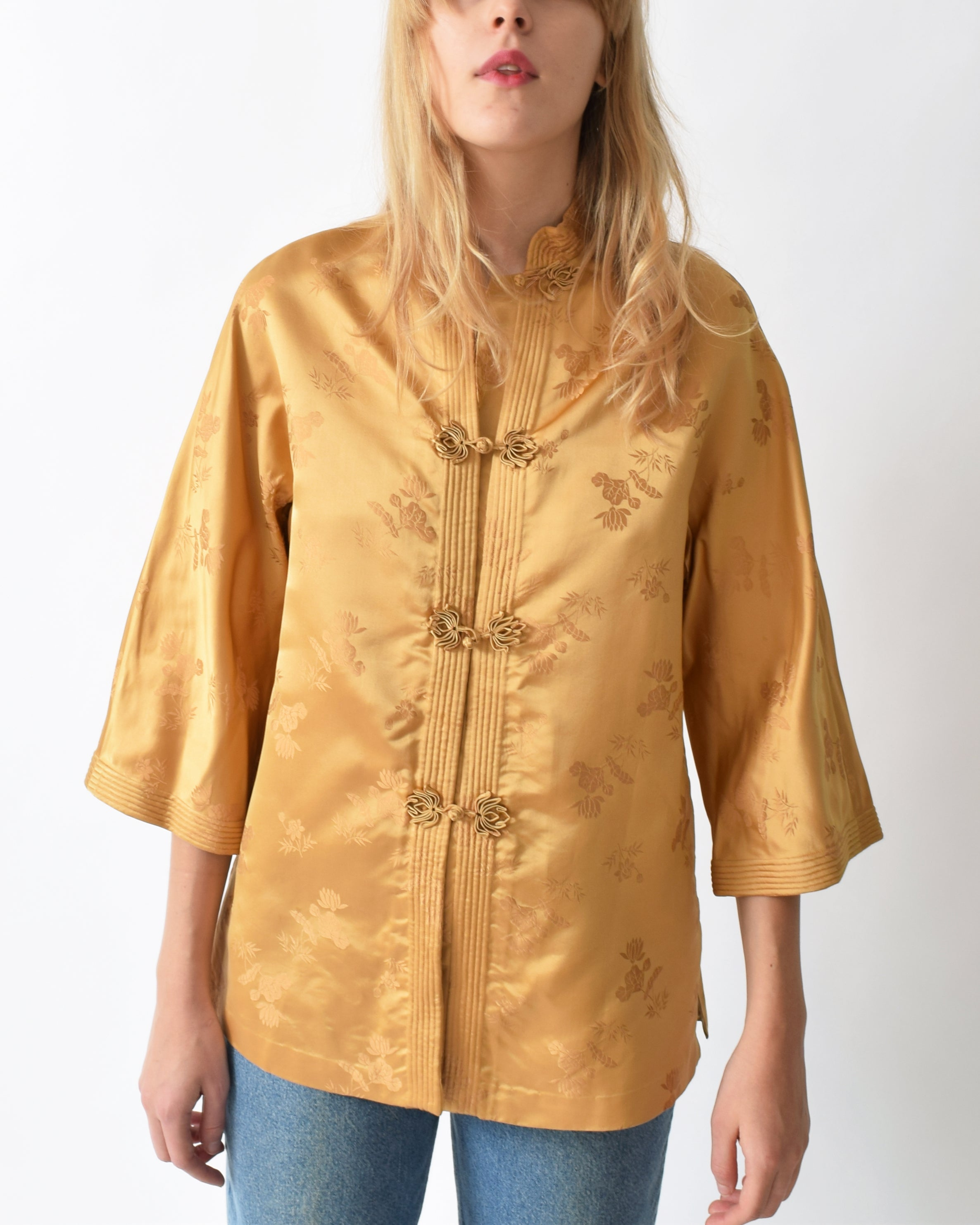 Vintage 1960s Damask Chinese Blouse