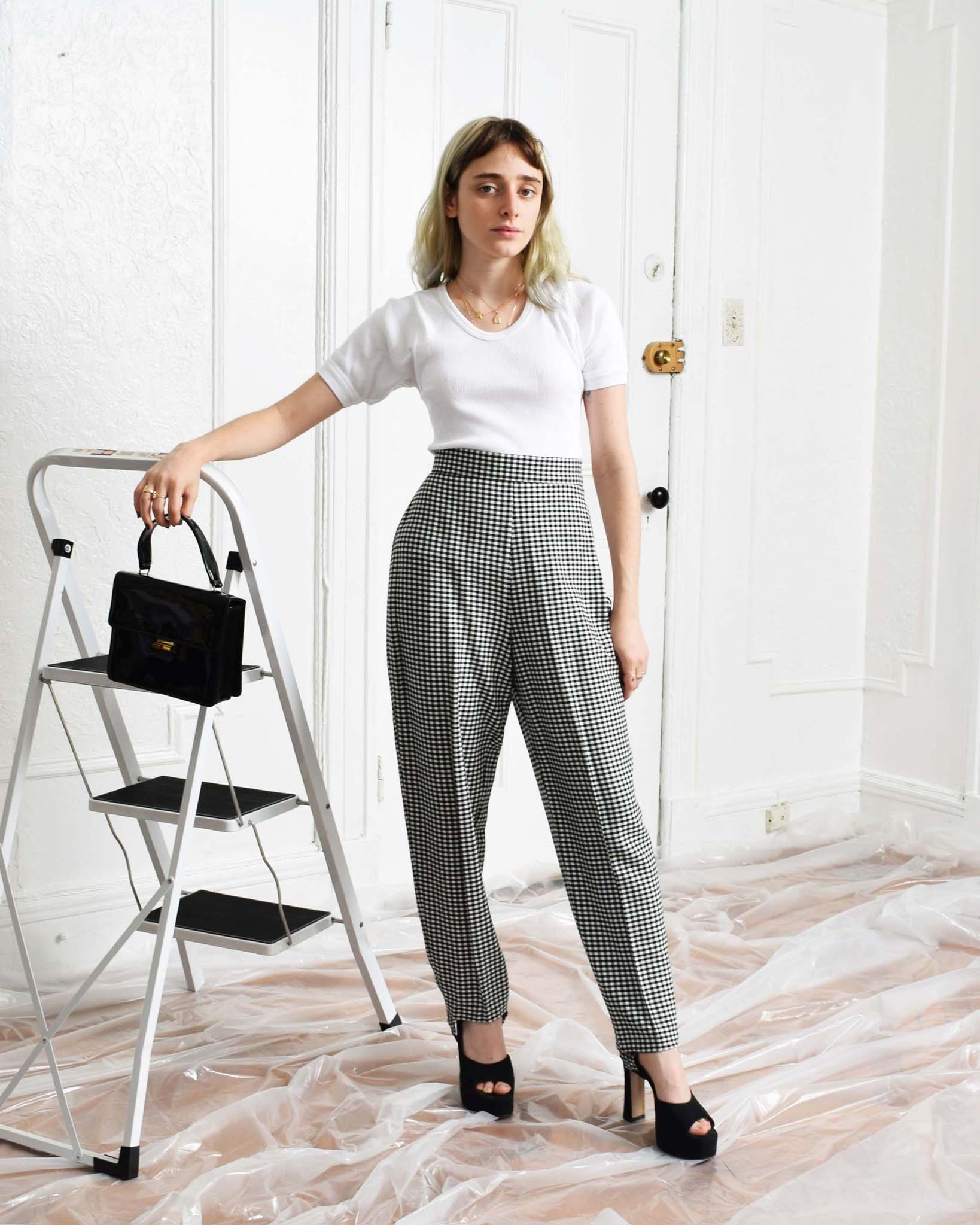 Vintage Gingham Stirrup Pants