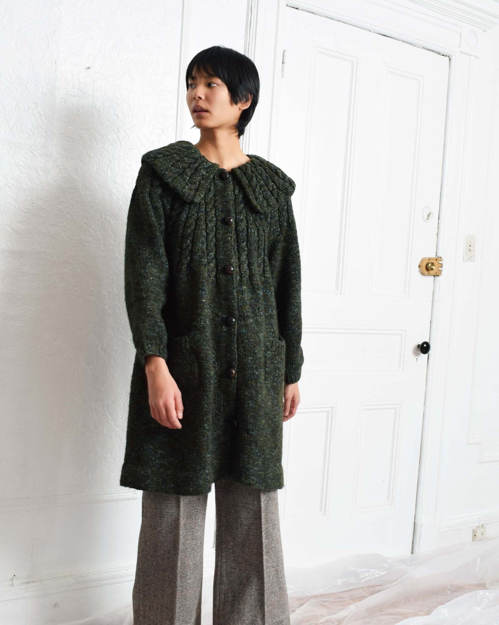 Vintage Cable Knit Sweater Coat
