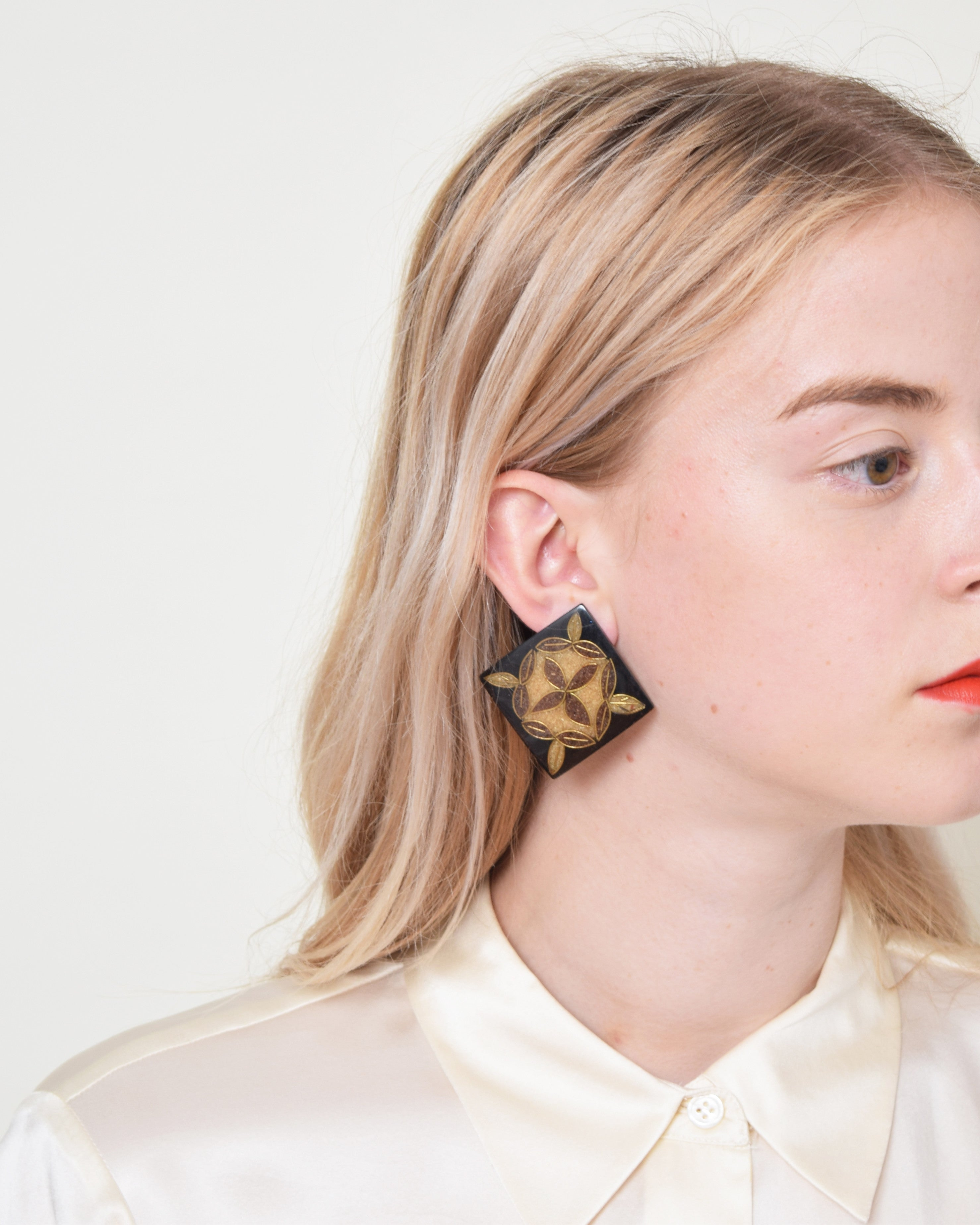 Vintage Inlaid Lucite Earrings