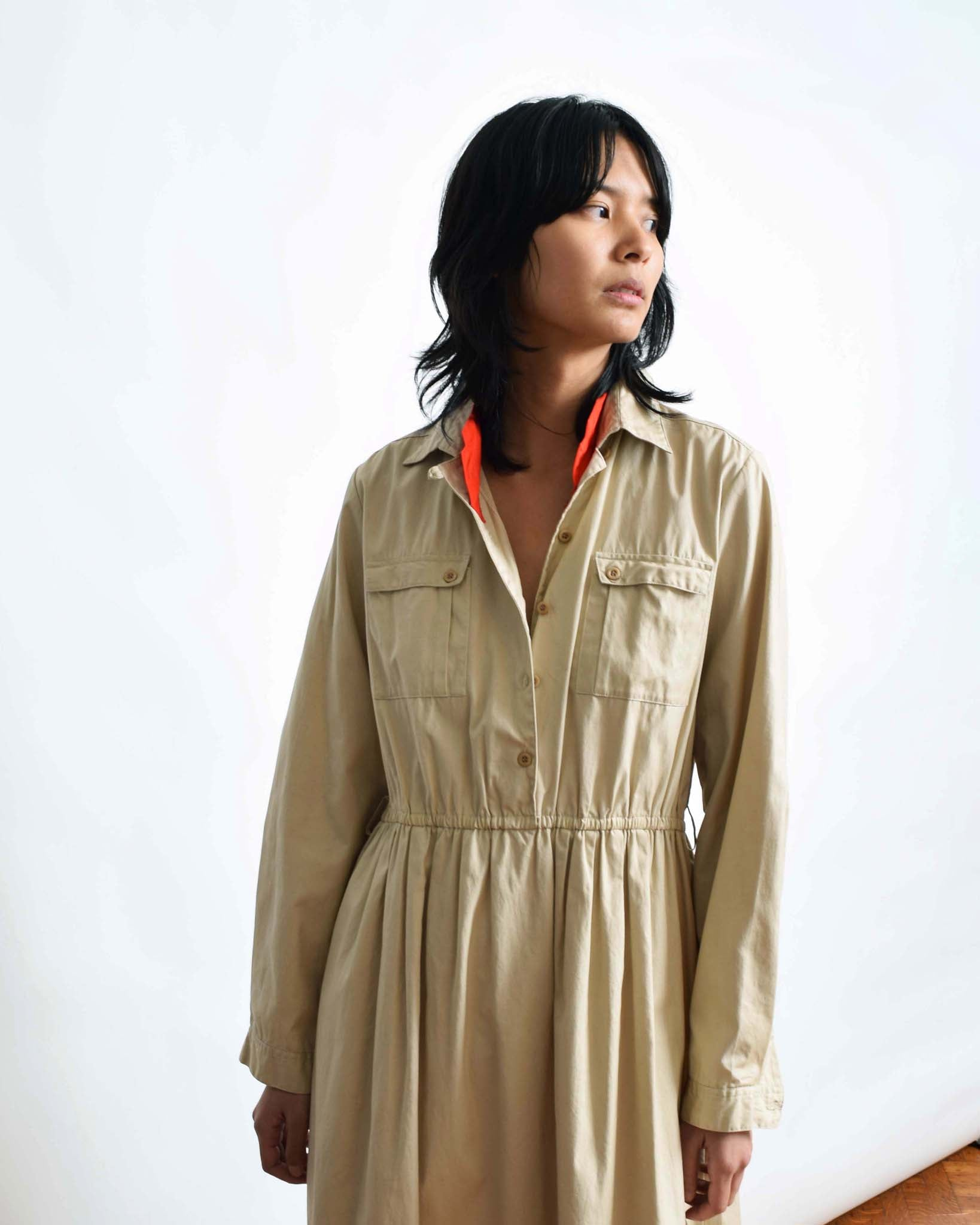 Vintage Khaki Safari Shirt Dress