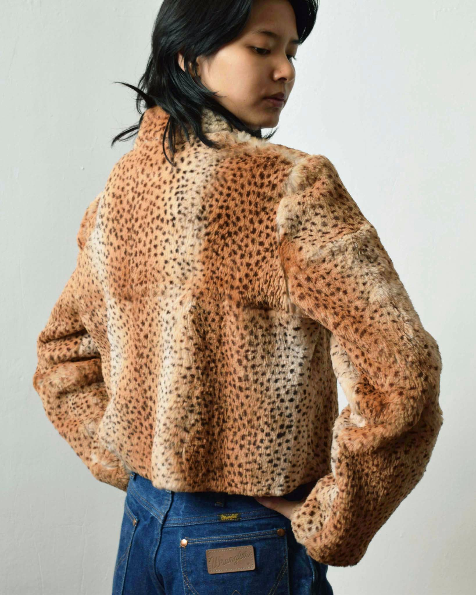 Animal Print Rabbit Fur Jacket