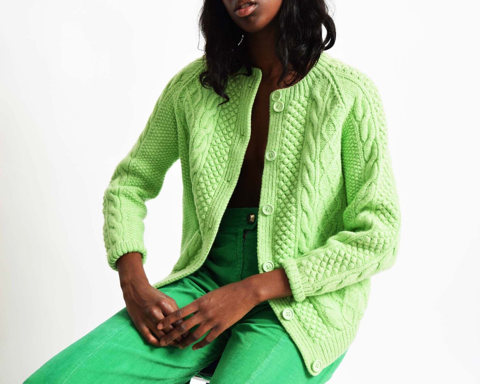 Vintage Lime Cable Knit Cardigan