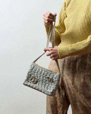 Vintage Metallic Crochet Clutch