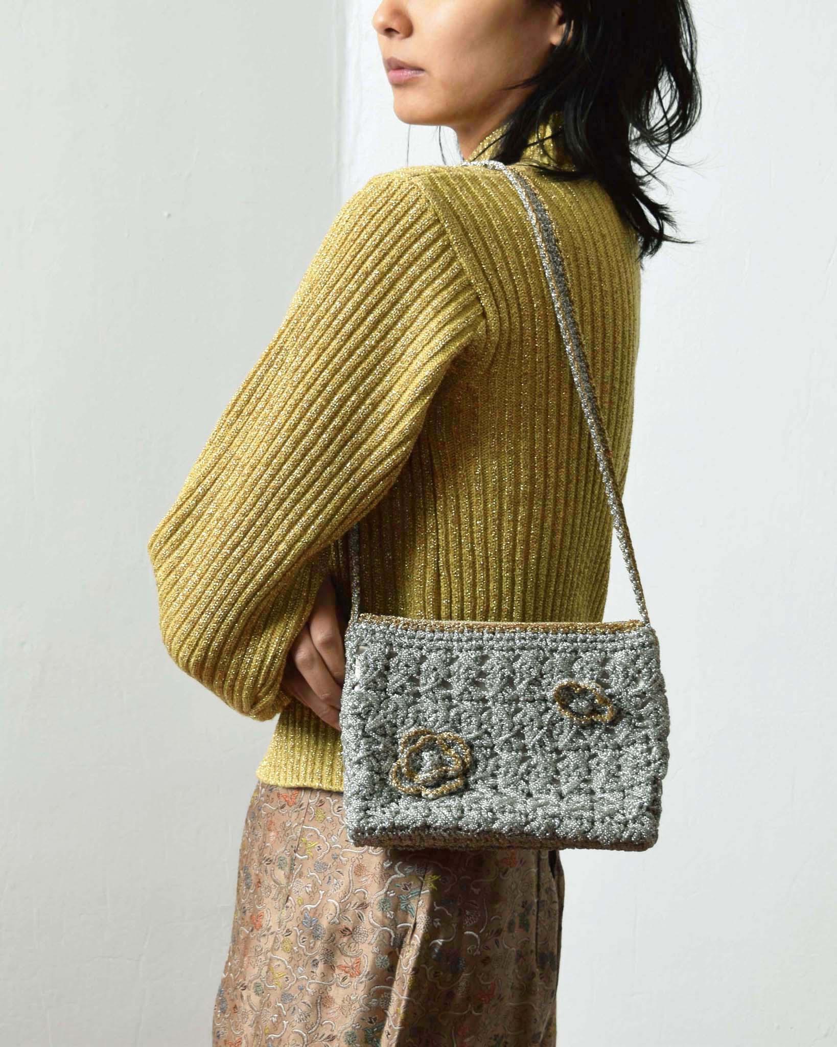 Vintage 1940s Metallic Crochet Purse