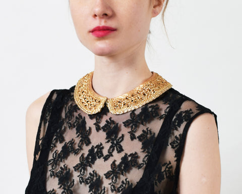 Vintage Metallic Lace Collar Piece