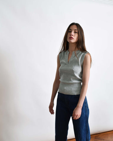 Vintage Metallic Silver Knit Top