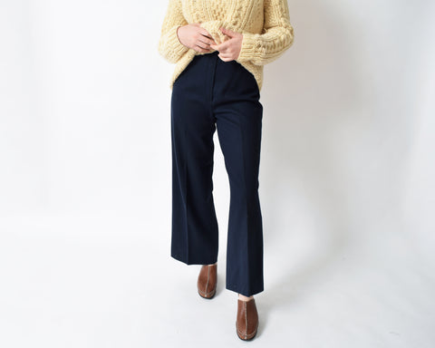Vintage 1970s Navy Wide Leg Trousers
