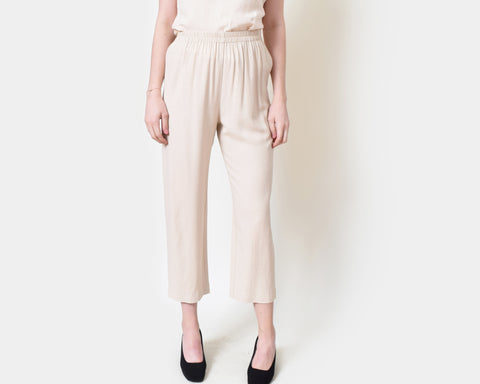 Vintage Draped Beige Trousers