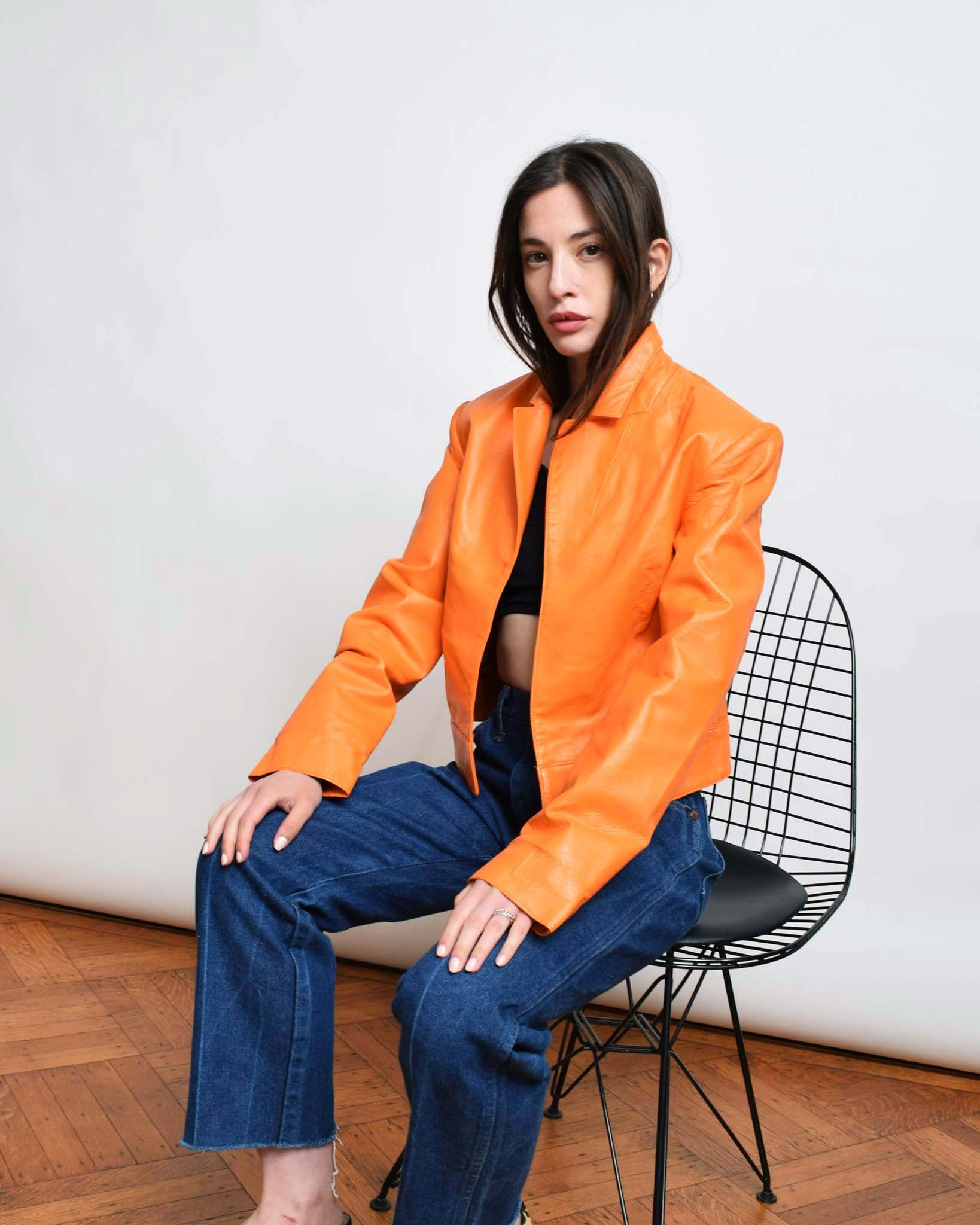 Vintage Orange Leather Jacket